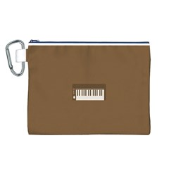 Keyboard Brown Canvas Cosmetic Bag (L)