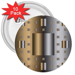 Gold Silver Carpet 3  Buttons (10 pack)