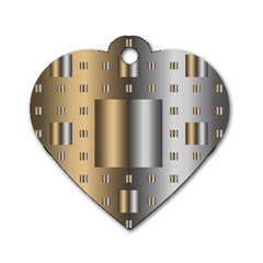 Gold Silver Carpet Dog Tag Heart (Two Sides)