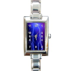 Lightning Electricity Elements Danger Night Lines Patterns Ultra Rectangle Italian Charm Watch