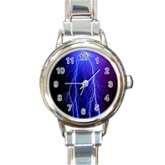 Lightning Electricity Elements Danger Night Lines Patterns Ultra Round Italian Charm Watch