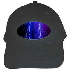 Lightning Electricity Elements Danger Night Lines Patterns Ultra Black Cap