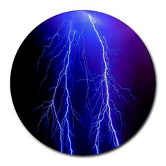 Lightning Electricity Elements Danger Night Lines Patterns Ultra Round Mousepads