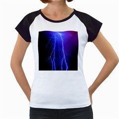 Lightning Electricity Elements Danger Night Lines Patterns Ultra Women s Cap Sleeve T