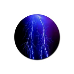 Lightning Electricity Elements Danger Night Lines Patterns Ultra Rubber Round Coaster (4 pack)
