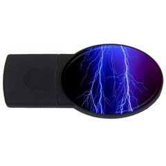 Lightning Electricity Elements Danger Night Lines Patterns Ultra USB Flash Drive Oval (1 GB)