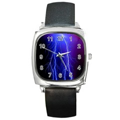 Lightning Electricity Elements Danger Night Lines Patterns Ultra Square Metal Watch