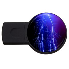 Lightning Electricity Elements Danger Night Lines Patterns Ultra USB Flash Drive Round (4 GB)