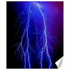 Lightning Electricity Elements Danger Night Lines Patterns Ultra Canvas 20  x 24