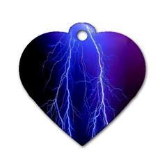 Lightning Electricity Elements Danger Night Lines Patterns Ultra Dog Tag Heart (Two Sides)