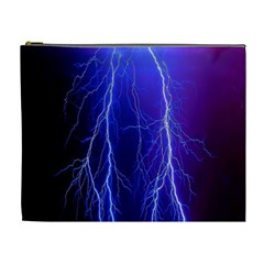 Lightning Electricity Elements Danger Night Lines Patterns Ultra Cosmetic Bag (XL)
