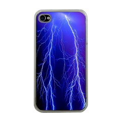 Lightning Electricity Elements Danger Night Lines Patterns Ultra Apple iPhone 4 Case (Clear)