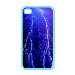 Lightning Electricity Elements Danger Night Lines Patterns Ultra Apple iPhone 4 Case (Color)