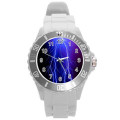 Lightning Electricity Elements Danger Night Lines Patterns Ultra Round Plastic Sport Watch (L)