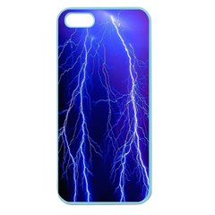 Lightning Electricity Elements Danger Night Lines Patterns Ultra Apple Seamless iPhone 5 Case (Color)