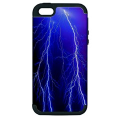 Lightning Electricity Elements Danger Night Lines Patterns Ultra Apple iPhone 5 Hardshell Case (PC+Silicone)