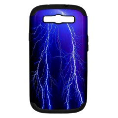 Lightning Electricity Elements Danger Night Lines Patterns Ultra Samsung Galaxy S III Hardshell Case (PC+Silicone)