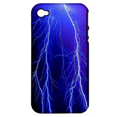 Lightning Electricity Elements Danger Night Lines Patterns Ultra Apple iPhone 4/4S Hardshell Case (PC+Silicone)