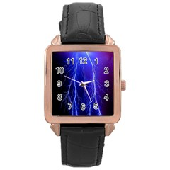 Lightning Electricity Elements Danger Night Lines Patterns Ultra Rose Gold Leather Watch