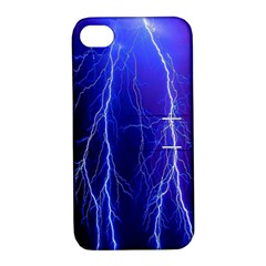 Lightning Electricity Elements Danger Night Lines Patterns Ultra Apple iPhone 4/4S Hardshell Case with Stand