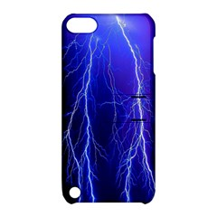 Lightning Electricity Elements Danger Night Lines Patterns Ultra Apple iPod Touch 5 Hardshell Case with Stand