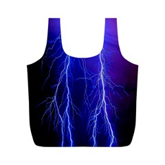 Lightning Electricity Elements Danger Night Lines Patterns Ultra Full Print Recycle Bags (M)