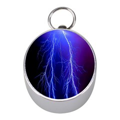 Lightning Electricity Elements Danger Night Lines Patterns Ultra Mini Silver Compasses