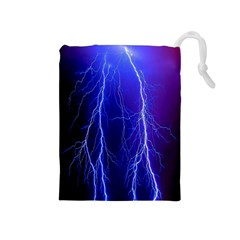 Lightning Electricity Elements Danger Night Lines Patterns Ultra Drawstring Pouches (Medium)