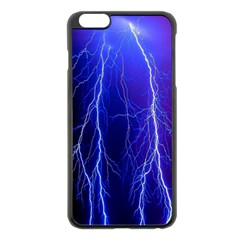 Lightning Electricity Elements Danger Night Lines Patterns Ultra Apple iPhone 6 Plus/6S Plus Black Enamel Case