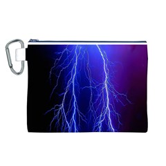 Lightning Electricity Elements Danger Night Lines Patterns Ultra Canvas Cosmetic Bag (L)