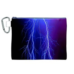 Lightning Electricity Elements Danger Night Lines Patterns Ultra Canvas Cosmetic Bag (XL)