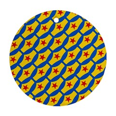 Images Album Heart Frame Star Yellow Blue Red Ornament (Round)