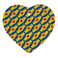 Images Album Heart Frame Star Yellow Blue Red Ornament (Heart)