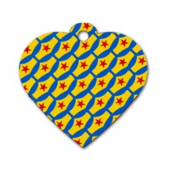 Images Album Heart Frame Star Yellow Blue Red Dog Tag Heart (Two Sides)