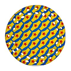 Images Album Heart Frame Star Yellow Blue Red Ornament (Round Filigree)
