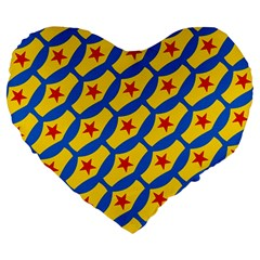 Images Album Heart Frame Star Yellow Blue Red Large 19  Premium Heart Shape Cushions