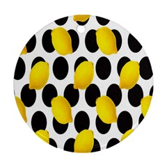 Orange Lime Fruit Yellow Hole Ornament (Round)
