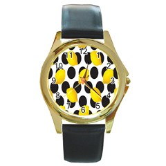 Orange Lime Fruit Yellow Hole Round Gold Metal Watch