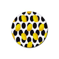 Orange Lime Fruit Yellow Hole Rubber Coaster (Round)
