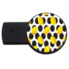 Orange Lime Fruit Yellow Hole USB Flash Drive Round (1 GB)