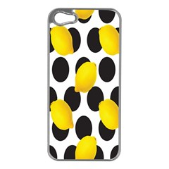 Orange Lime Fruit Yellow Hole Apple iPhone 5 Case (Silver)