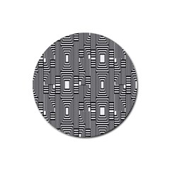 Line Hole Plaid Pattern Rubber Round Coaster (4 pack)