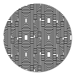 Line Hole Plaid Pattern Magnet 5  (Round)