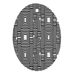 Line Hole Plaid Pattern Oval Ornament (Two Sides)