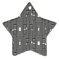 Line Hole Plaid Pattern Star Ornament (Two Sides)