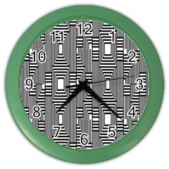Line Hole Plaid Pattern Color Wall Clocks