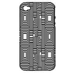 Line Hole Plaid Pattern Apple iPhone 4/4S Hardshell Case (PC+Silicone)