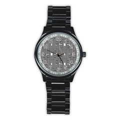 Line Hole Plaid Pattern Stainless Steel Round Watch
