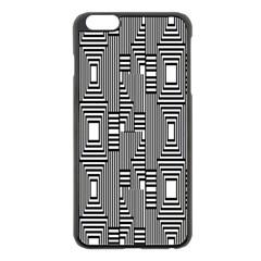 Line Hole Plaid Pattern Apple iPhone 6 Plus/6S Plus Black Enamel Case