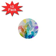 Leaf Rainbow Color 1  Mini Buttons (10 pack)